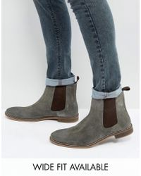 ASOS - Chelsea Boots In Grey Suede - Wide Fit Available - Lyst