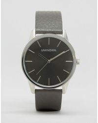 Unknown - Classic Grey Leather Watch With Grey Dial 39mm - Lyst