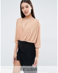 Club L - Longsleeved Bodysuit With Plunge Front - Lyst