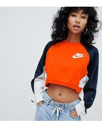 Nike - Polyknit Sweatshirt In Orange Colour Block - Lyst