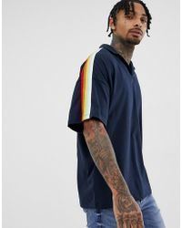 ASOS - Oversized Revere Polo Shirt With Rainbow Taping In Navy - Lyst