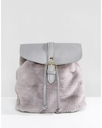 Glamorous | Faux Fur Backpack In Grey | Lyst