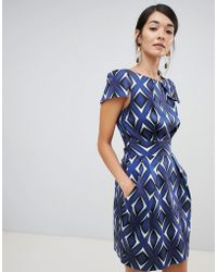 Closet - Cap Sleeve Pencil Dress In Mirrored Print - Lyst