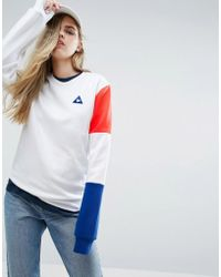 Le Coq Sportif - Boyfriend Sweatshirt With Tricolores Sleeve - Lyst