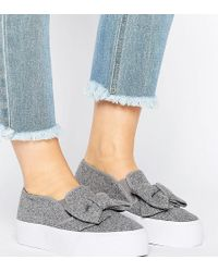 ASOS - Discover Wide Fit Bow Trainers - Lyst