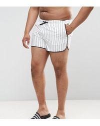 ASOS - Asos Plus Runner Swim Shorts In White With Vertical Stripe - Lyst