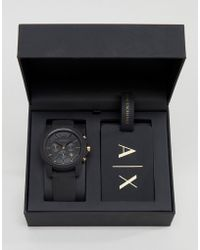 Armani Exchange | Ax7105 Leather Watch & Luggage Tag Gift Set | Lyst