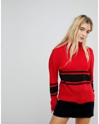 Daisy Street - High Neck Knitted Jumper In Stripe - Lyst