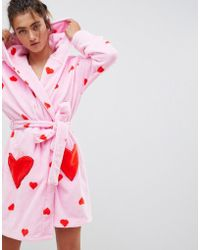 ASOS - Heart Print Supersoft Robe - Lyst