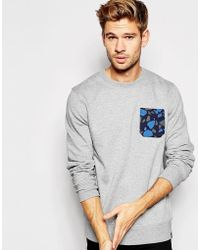 Esprit - Crew Neck Sweatshirt With Camo Pocket - Lyst