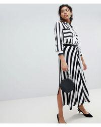 Mango - Stripe Asymetric Hem Skirt - Lyst