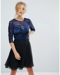 4d289f008bc8 Elise Ryan - Lace Skater Dress With Ladder Trim - Lyst
