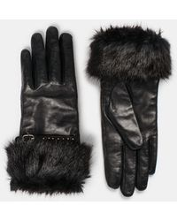 Dune - Icicle Leather Faux Fur Gloves - Lyst