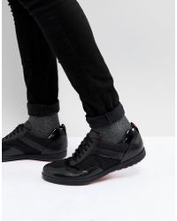 HUGO | Flat Lowp Mix Media Trainers In Black | Lyst