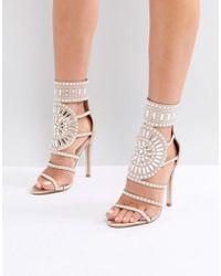 Public Desire - Cleopatra Embellished Heeled Sandals In Rose Gold Satin - Lyst