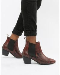 Oasis - Heeled Chelsea Boots In Red Animal Print - Lyst