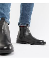 H by Hudson - Wide Fit Atherston Chelsea Boots In Black Leather - Lyst