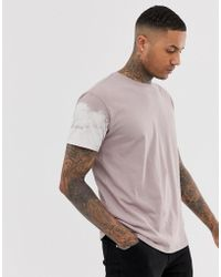 Loose Fit T shirt With Bleach Arm Print In Dusty Pink