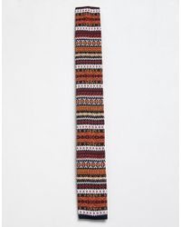 Moss Bros - Moss London Knitted Tie With Fairisle Design - Lyst