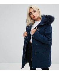 Noisy May Petite - Parka Jacket With Faux Fur Trim Hood - Lyst