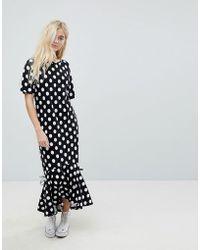 ASOS - Drop Hem Maxi Dress In Polka Dot - Lyst