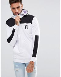 11 Degrees - Track Zip Through Hoodie In White - Lyst