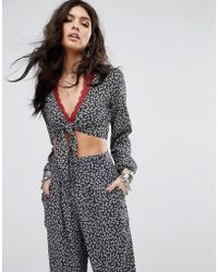 Denim & Supply Ralph Lauren - Tie-front Bell-sleeve Cropped Printed Co-ord Top - Lyst