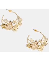 ASOS - Hoop Earrings In Pretty Butterfly Design In Gold - Lyst