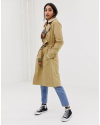 Abercrombie & Fitch - Trench Coat With Houndstooth Interior - Lyst