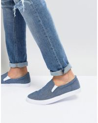 ASOS - Slip On Plimsolls In Blue Chambray - Lyst