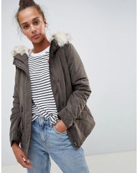 ONLY - Luca Short Parka Coat With Faux Fur Hood - Lyst