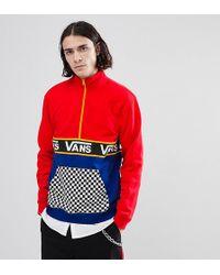Vans - Half Zip Sweat In Colour Block With Checkerboard Pocket In Red Exclusive To Asos - Lyst