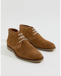 Dune - Perforated Desert Boots In Tan Suede - Lyst