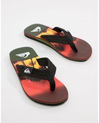 Quiksilver - Molokai Flip Flop In Sunset Palm Tree Print - Lyst