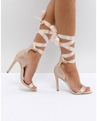 ALDO - Mirilian Glitter Satin Tie Ankle Strap Shoe - Lyst