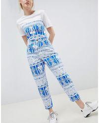 ASOS - Design Balloon Leg Boyfriend Jeans In Tile Print - Lyst
