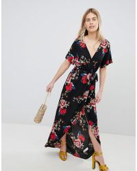 New Look - Printed Wrap Short Sleeve Midi Dress - Lyst