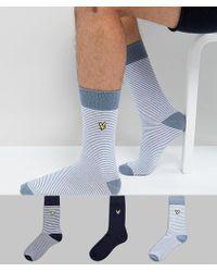 Lyle & Scott - Stripe Sock 3 Pack In Navy - Lyst