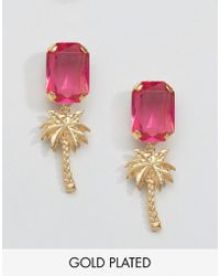 Gogo Philip   Gold Plated Palm Tree Gem Earrings   Lyst