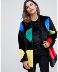Urbancode - Faux Fur Coat In Bright Polka Dots - Lyst