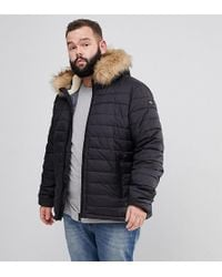 Schott Nyc - Plus Rocky 2 Puffer Bomber Hooded Detachable Faux Fur Trim Slim Fit In Black - Lyst