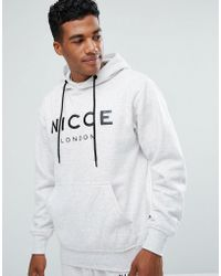 Nicce London - Nicce Hoodie In Grey With Large Logo - Lyst