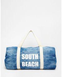 South Beach - Denim Barrel Beach Bag - Lyst
