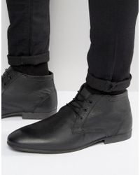 ASOS - Chukka Boots In Black Leather - Lyst