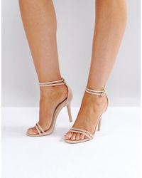 Glamorous - Glamourous Double Strap Barely There Sandals - Lyst