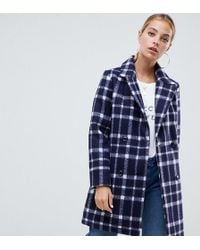 Missguided - Wool Coat In Navy Check - Lyst