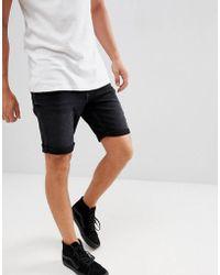 Mango - Man Denim Shorts In Black - Lyst