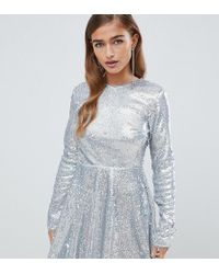 084292bcb09 TFNC London - Long Sleeve Fit And Flare Sequin Mini Dress In Silver  Irridescent - Lyst