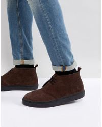 Fred Perry - Hawley Suede Mid Shoes In Dark Brown - Lyst