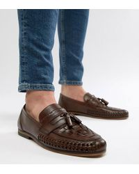 ASOS - Wide Fit Loafers In Woven Tan Leather With Tassel Detail - Lyst